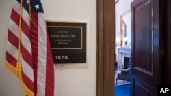 The Capitol Hill office of Sen. John McCain, R-Ariz., is seen in Washington, July 20, 2017, after news that he has been diagnosed with brain cancer.