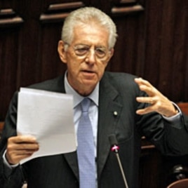 Italy's Prime Minister Mario Monti gestures during a vote of confidence at the Lower House of Parliament in Rome, November 18, 2011