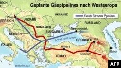 Карта газопроводов «Южный поток» (серый) и «Набукко» (красный)