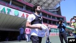L'attaquant égyptien Mohamed Salah participe à un entraînement au stade Akhmat Arena de Grozny, le 13 juin 2018.