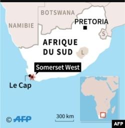 Localisation de Somerset West (Afrique du sud) où plusieurs personnes ont été tuées lors d'une explosion dans une usine de munitions