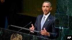 Barack Obama, le président des Etats-Unis, pronoce un discours lors de la 70e session de l'Assemblée générale des Nations Unies, 28 septembre 2015