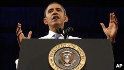 美國總統奧巴馬於23日在佛羅里達州的邁亞密大學就能源議題發表講話。