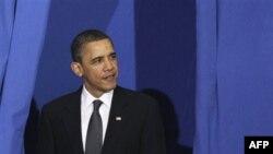 Президент США Барак Обама. Джорджтаунский университет. Вашингтон. США. 30 марта 2011 года