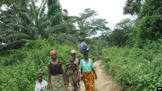 A group of Ivorian refugees trek onwards to the town Gborplay in Liberia, after being ferried across the Cestos river at the border with Ivory Coast in a raft (File Photo)