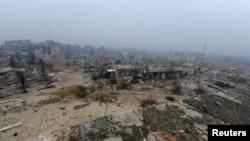 Une vue générale de la ville d'Alep, en Syrie, le 13 décembre 2016.