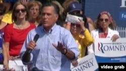 共和党总统侯选人罗姆尼抨击奥巴马对华政策(美国之音视频截图)