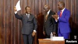 Guillaume Soro après sa réélection au poste de président de l'Assemblée Nationale à Abidjan, en Côte d'Ivoire, le 9 janvier 2017.