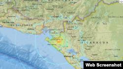 Mapa del Servicio Geológico Nacional de Estados Unidos que muestra el epicentro del temblor más fuerte.