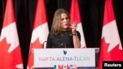 Ngoại trưởng Canada Chrystia Freeland phát biểu với truyền thông sau hội nghị thương thuyết lại NAFTA tại Montreal, Quebec, Canada, ngày 29/1/2018.