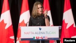 La ministre canadienne des Affaires étrangères, Chrystia Freeland, Montréal, Canada, le 29 janvier 2018.