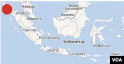 7일 인도네시아 북부 지진 발생 지점을 붉은 원으로 표시했다.