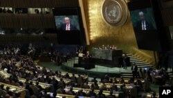지난달 25일 뉴욕 유엔본부에서 열린 제73차 유엔총회에서 도널드 트럼프 미국 대통령이 기조연설을 하고 있다.