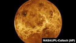 Planet Venus dibuat dengan data dari pesawat ruang angkasa Magellan dan Pioneer Venus Orbiter. Pada hari Rabu, 2 Juni 2021, administrator baru NASA, Bill Nelson, mengumumkan dua misi robotik baru ke planet terpanas tata surya. (Foto: NASA via AP)