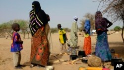 FILE - Chadians who fled the Lake Chad shore village of N'Gouboua stand in their makeshift camp 20 kms (14 miles) from N'Gouboua, Chad, March 5, 2015.