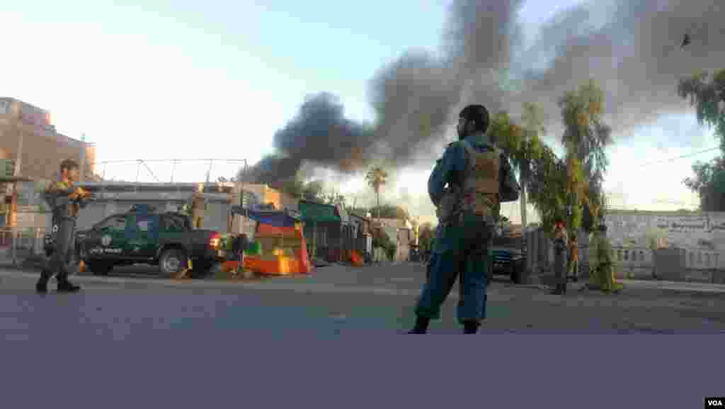 Smoke rises after an attack on a Red Cross office in the eastern city of Jalalabad, Afghanistan. (Z. Hasrat/VOA)