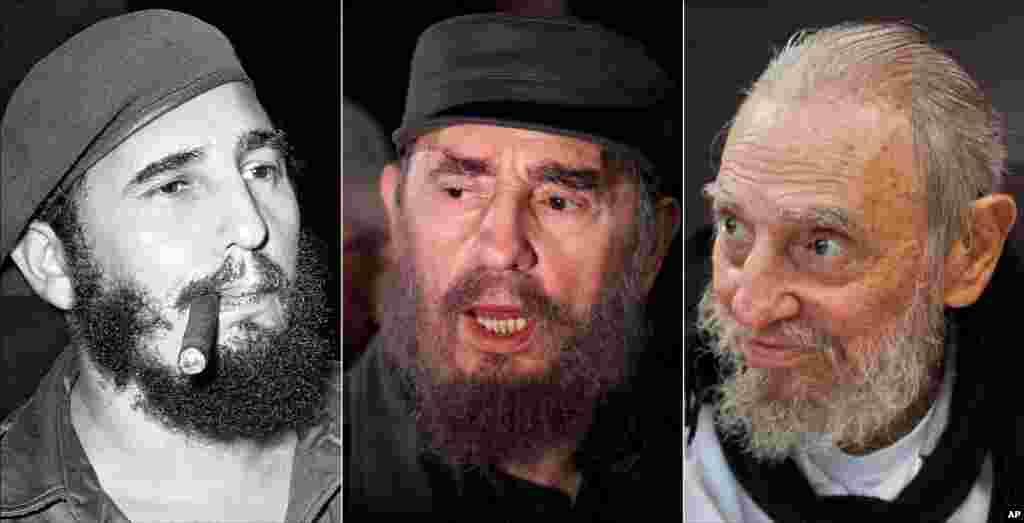 Três imagens de Fidel Castro (da esq. para a Dir): a fumar um cigarro em Havana, Cuba, 29 Abril 1961; a falar com a imprensa durante missão para ir buscar Elian Gonzalez em Washington DC, 6 Abril 2000; em sua casa em Havana, 13 Fevereiro 2016