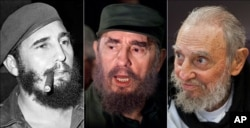 This combo of three file photos shows Fidel Castro, from left; smoking a cigar in Havana, Cuba, April 29, 1961; speaking to the media while on a mission to collect Elian Gonzales in Washington, D.C., April 6, 2000; and at his Havana home on Feb. 13, 2016.
