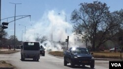 Teargas everywhere at the venue of the protest.
