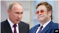 This combination photo shows Russian President Vladimir Putin in Moscow, June 20, 2019, left, and singer Elton John at a ceremony presenting him with the Legion of Honor at the presidential Elysee Palace in Paris.
