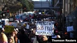 تظاهرات به مخالفت از محدودیت های کرونا در شهر سیدنی استرالیا - ۲۴ ژوئیه ۲۰۲۱
