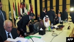 Qatar's Prime Minister and Foreign Minister Sheikh Hamad bin Jassim al-Thani (C) talks to Arab League Secretary-General Nabil al-Arabi (L) during a meeting for Arab foreign ministers in Cairo, to discuss the situation in Syria, November 24, 2011