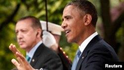 تصویری آرشیوی از کنفرانس مطبوعاتی آقای اوباما و اردوغان در ماه مه ۲۰۱۳