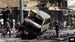 巴格達其中一處汽車爆炸現場