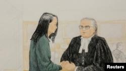 Caricature du procès de la directrice financière de Huawei, Meng Wanzhou (à gauche),au Canada, le 10 décembre 2018. REUTERS / Jane Wolsak