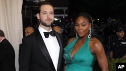 FILE - Reddit co-founder Alexis Ohanian and Serena Williams at the 2017 Costume Institute Gala in New York.