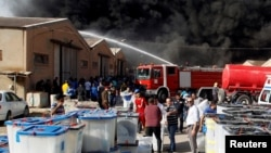 آتش سوزی در محل نگهداری آرای انتخابات عراق