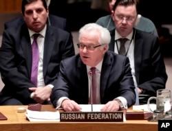 유엔 안보리가 안보리 결의 2770호를 통과시킨 지난 3월 미국 뉴욕 유엔 본부 안보리 회의장에서 비탈리 추르킨 유엔주재 러시아 대사가 발언하고 있다.