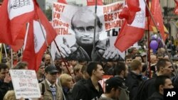 Một cuộc biểu tình chống Tổng thống Putin ở St Petersburg, Nga hôm 15/9/2012, bất chấp việc chính phủ đang nỗ lực đàn áp phe đối lập