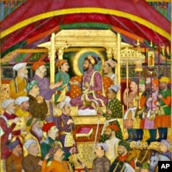 Shah Jahan Receives the Persian Ambassador, ink, colors and gold on paper from around 1633.
