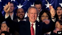 Illinois Republican Gov. Bruce Rauner addresses the crowd on primary election night, March 20, 2018, in Chicago. Rauner has won the Republican nomination for a second term and will face Democratic gubernatorial candidate J.B. Pritzker in the general elect