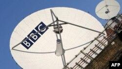 영국 'BBC 방송' 로고가 새겨진 안테나. (자료사진)