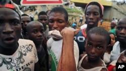 Une manifestation à Conakry, Guinée, le 8 octobre 2015 (AP Photo/ Youssouf Bah)