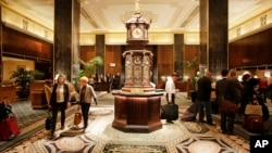The lobby of New York's Waldorf Astoria hotel, Oct. 6, 2014.