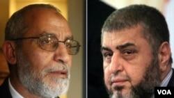 埃及將於2013年8月25日以煽動暴力罪名開庭審理穆斯林兄弟會領導人穆罕默德‧巴 迪(左側)和他的副手沙特爾(右側),這是2012年4月9日的記者會資料照片。