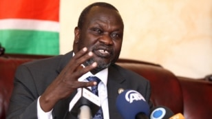 FILE - South Sudan's rebel leader Riek Machar addresses a news conference in Ethiopia's capital, Addis Ababa, Oct. 18, 2015.