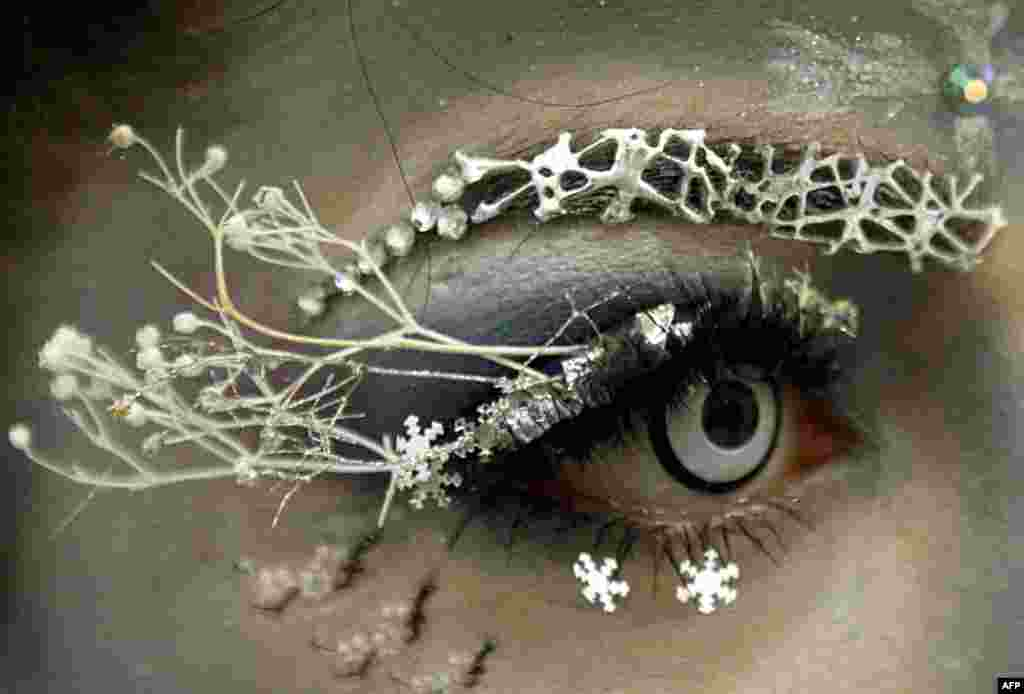 A participant takes part in the first Belarussian eyelash extension Beauty Eyes championship in Minsk.