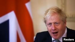 英國首相約翰遜在倫敦舉行的記者會上(2020年10月22日)
