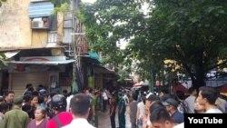 Hiện trường vụ sập nhà cổ ở thủ đô Hà Nội.