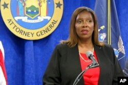 New York State Attorney General Letitia James speaks at a press conference, in New York, Aug. 3, 2021.