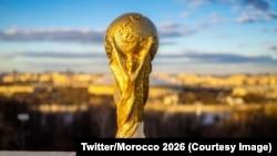 Le trophée du Mondial, 1er juin 2018. (Twitter/Morocco 2026)