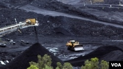 Coal is stockpiled at the Blair Athol mine in the Bowen Basin coalfield near the town of Moranbah, Australia, June 1, 2012.