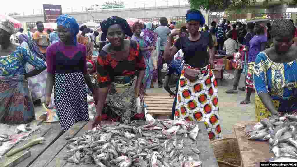 Des femmes vendent du poisson frais au marché moderne de N'Djamena au Tchad, le 16 août 2016. (André Kodmadjingar/VOA)