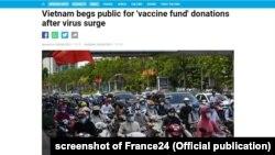 """Báo Pháp France24 đăng tin rằng chính phủ Việt Nam """"xin"""" công chúng đóng góp tiền cho quỹ vắc-xin COVID-19, 8/6/2021. Hình minh họa."""