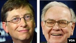"Milyuner AS Bill Gates dan Warren Buffett, mempromosikan gerakan amal ""Giving Pledge"" bulan Juni 2010 lalu."