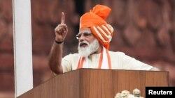 လြတ္လပ္ေရးေန႔မိန္႔ခြန္္း ေျပာၾကားေနတဲ့ အိႏၵိယဝန္ႀကီးခ်ဳပ္ Narendra Modi. (ၾသဂုတ္ ၁၅၊ ၂၀၂၀)
